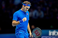 Roger Federer of Switzerland fist pumps  during the Nitto ATP World Tour Finals at the O2 Arena, London, United Kingdom on 11 November 2018. Photo by Martin Cole
