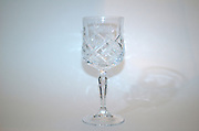 Crystal wine goblet used for the wine blessing on Friday night in the Jewish religion