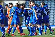 GOAL Kgosi Nthle is congratulated after scoring 1-0 during the EFL Sky Bet League 1 match between Rochdale and Shrewsbury Town at Spotland, Rochdale, England on 9 March 2019.