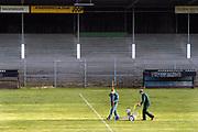 Nederland, Wageningen, 13-1-2005  Het voormalige stadion van de legendarische voetbalclub FC Wageningen, ooit een trotse erediviesie club . Vervallen maar niet gesloopt, afgebroken, vanwege de ligging in een beschermd natuurgebied, de Wageningse Berg . Voor een eenmalige westrijd worden de lijnen opnieuw gekalkt . Foto: Flip Franssen