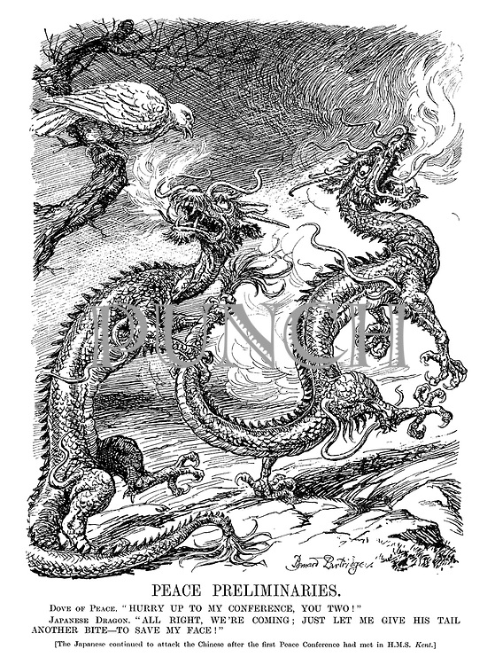 "Peace Preliminaries. Dove of Peace. ""Hurry up to my conference, you two!"" Japanese Dragon. ""All right, we're coming; just let me give his tail another bite - to save my face!"" [The Japanese continued to attack the Chinese after the first Peace Conference had met in HMS Kent.]"