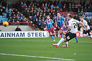 Bradford City defender Anthony McMahon scores from the penalty spot to go 1-0 up during the Sky Bet League 1 match between Scunthorpe United and Bradford City at Glanford Park, Scunthorpe, England on 21 November 2015. Photo by Ian Lyall.