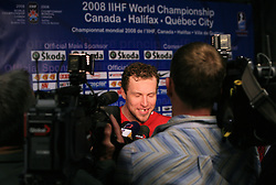 Dany Heatley of Canada in mix zone with journalists after the ice-hockey game Canada vs Finland at Qualifying round Group F of IIHF WC 2008 in Halifax, on May 12, 2008 in Metro Center, Halifax, Nova Scotia, Canada. Canada won 6:3. (Photo by Vid Ponikvar / Sportal Images)
