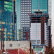 Construction underway of One Light Tower in downtown Kansas City, Missouri in March 2015. Co-developed by Cordish Company and Kushner Companies, Humphreys and Partners Architects, general contractor JE Dunn.