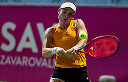PORTOROZ, SLOVENIA - SEPTEMBER 18:  Tamara Zidansek  of Slovenia playing doubles semifinal  during the WTA 250 Zavarovalnica Sava Portoroz at SRC Marina, on September 18, 2021 in Portoroz / Portorose, Slovenia. Photo by Vid Ponikvar / Sportida