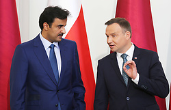 May 5, 2017 - Warsaw, Poland - Polish President Andrzej Duda (R) and the Emir of Qatar (L), Sheikh Tamim bin Hamad Al Thani, held a joint press conference during during the Emir's official visit to Poland on May 05 2017. The Emir was welcomed by President Duda during the official welcoming ceremony in the Presidential Palace, in Warsaw, Poland. (Credit Image: © Anna Ferensowicz/Pacific Press via ZUMA Wire)