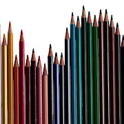 Colored pencils against white background