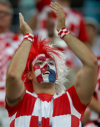SOCHI, July 7, 2018  A fan of Croatia is seen prior to the 2018 FIFA World Cup quarter-final match between Russia and Croatia in Sochi, Russia, July 7, 2018. (Credit Image: © Wu Zhuang/Xinhua via ZUMA Wire)