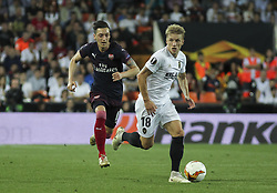 May 9, 2019 - Valencia, Valencia, Spain - Wass of Valenciaand Ozil of Arsenal in action during UEFA Europa League football match, between Valencia and Arsenal, May 09th, in Mestalla stadium in Valencia, Spain. (Credit Image: © AFP7 via ZUMA Wire)