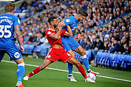 Peterborough United defender Ryan Tafazolli (5) and Accrington Stanley defender Michael Ihiekwe (4) battle for the ball during the EFL Sky Bet League 1 match between Peterborough United and Accrington Stanley at London Road, Peterborough, England on 20 October 2018.