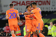 Celebrations as Cardiff City forward Robert Glatzel scores a penalty during the EFL Sky Bet Championship match between Derby County and Cardiff City at the Pride Park, Derby, England on 13 September 2019.