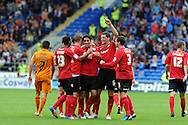 Cardiff city's Peter Whittingham © celebrates with his teamates after he scores his sides 3rd goal (his 3rd).  NPower championship, Cardiff city v Wolverhampton Wanderers at the Cardiff city stadium in Cardiff, South Wales on Sunday 2nd Sept 2012. pic by Andrew Orchard, Andrew Orchard sports photography,