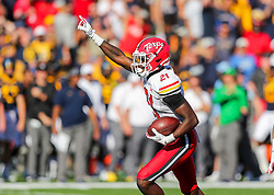 Sep 4, 2021; College Park, Maryland, USA; Maryland Terrapins wide receiver Darryl Jones (21) recovers a fumble during a punt return during the second quarter against the West Virginia Mountaineers at Capital One Field at Maryland Stadium. Mandatory Credit: Ben Queen-USA TODAY Sports