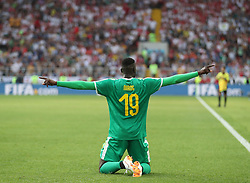 MOSCOW, June 19, 2018  Mbaye Niang of Senegal celebrates scoring during a Group H match between Poland and Senegal at the 2018 FIFA World Cup in Moscow, Russia, June 19, 2018. (Credit Image: © Fei Maohua/Xinhua via ZUMA Wire)