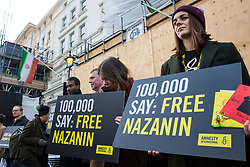 © Licensed to London News Pictures. 21/02/2018. London, UK. Protesters gather outside the Iranian Embassy in London to deliver letters of solidarity for Nazanin Zaghari-Ratcliffe ahead of an expected visit by a senior Iranian minister. British-Iranian Nazanin Zaghari-Ratcliffe has been detained in Iran since April 2016. Photo credit: Rob Pinney/LNP