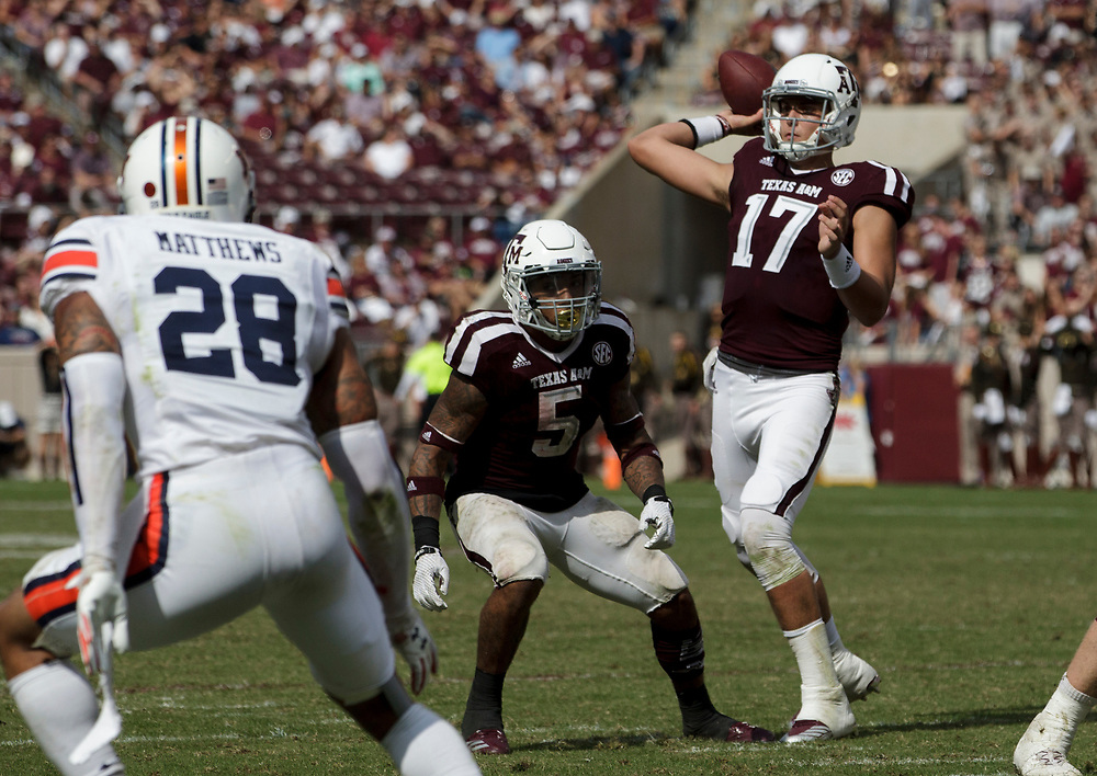 Texas A&M quarterback Nick Starkel (17) passes down field against Auburn during the fourth quarter of an NCAA college football game on Saturday, Nov. 4, 2017, in College Station, Texas. (AP Photo/Sam Craft)