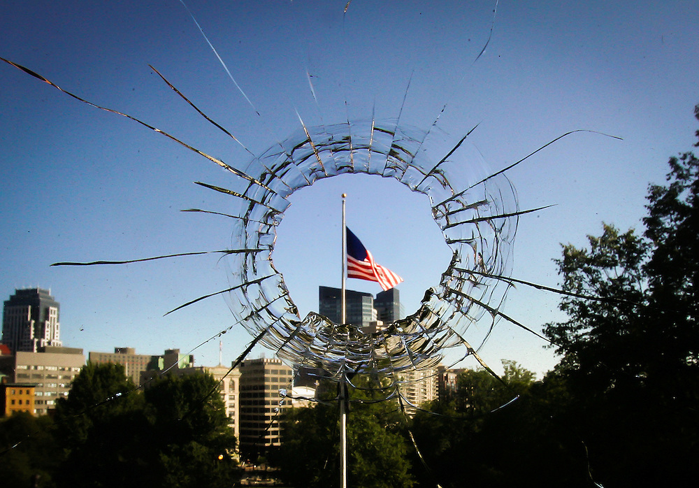 (082707  Boston, MA) A bullet went through a window in the Governor's office in Boston.