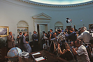 President Jimmy Carter leaves the Oval Office after signing a bill in May 1979<br /> <br /> Photograph by Dennis Brack<br /> bb45