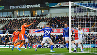 Blackpool's Joe Nuttall scores his side's equalising goal to make the score 1-1<br /> <br /> Photographer Chris Vaughan/CameraSport<br /> <br /> The EFL Sky Bet League One - Ipswich Town v Blackpool - Saturday 23rd November 2019 - Portman Road - Ipswich<br /> <br /> World Copyright © 2019 CameraSport. All rights reserved. 43 Linden Ave. Countesthorpe. Leicester. England. LE8 5PG - Tel: +44 (0) 116 277 4147 - admin@camerasport.com - www.camerasport.com