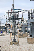 high voltage transformers at an Electricity transformation substation Photographed in Jerusalem, Israel