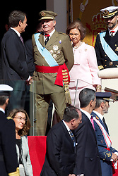 12.10.2010, Madrid, ESP, Spain National Day in Madrid, im Bild Princess Letizia, Prince Felipe, Princess Elena, Princess Cristina and Inaki Urdangarin, King Juan Carlos and Queen Sofia attend the military parade at Spain`s National Day in Madrid. Pictured King Juan Carlos and president Jose Luis Rodriguez Zapatero. EXPA Pictures © 2010, PhotoCredit: EXPA/ Alterphotos/ Cesar Cebolla +++++ ATTENTION - OUT OF SPAIN / ESP +++++