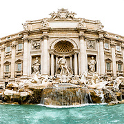 ROME, Italy - A panoramic shot of the famous Trevi Fountain in Rome, Italy.