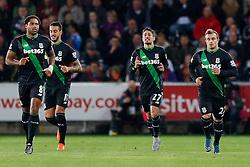 Bojan Krkic of Stoke City celebrates scoring a goal to make it 0-1 - Mandatory byline: Rogan Thomson/JMP - 07966 386802 - 19/10/2015 - FOOTBALL - Liberty Stadium - Swansea, Wales - Swansea City v Stoke City - Barclays Premier League.