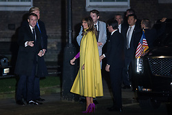 London, UK. 3 December, 2019. Donald Trump, President of the United States, arrives with Emmanuel Macron, President of France, Giuseppe Conte, Prime Minister of Italy, and his wife Melania Trump for a reception for NATO leaders at 10 Downing Street on the eve of the military alliance's 70th anniversary summit at a luxury hotel near Watford.