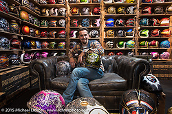 Fabrizio Caoduro of the very cool 70's Helmets at EICMA, the largest international motorcycle exhibition in the world. Milan, Italy. November 17, 2015.  Photography ©2015 Michael Lichter.