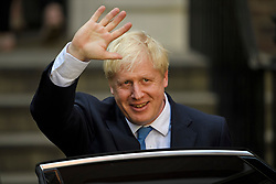 © Licensed to London News Pictures. 23/07/2019. London, UK. BORIS JOHNSON is seen leaving Conservative Party headquarters after being elected the new leader of the Conservative party. Today the Conservative Party Elected Boris Johnson as their new leader and Prime Minister, following Theresa May's announcement that she will step down. Photo credit: Ben Cawthra/LNP