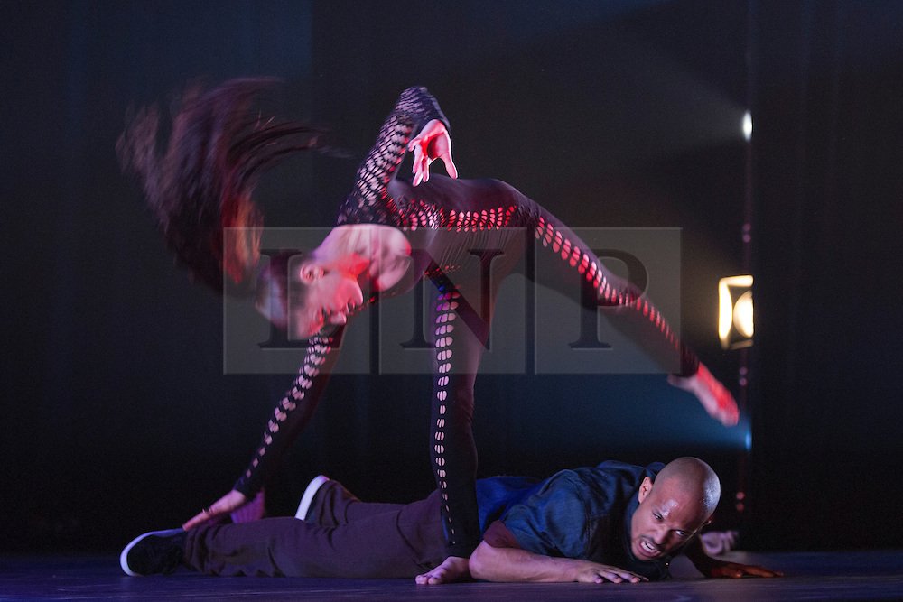 "© Licensed to London News Pictures. 18/10/2013. London, England. Pictured: Michèle Paleta Rhyner. Barbican Artistic Associate ""Boy Blue Entertainment"" present the premiere of ""The Five & the Prophecy of Prana"". Choreographer Kenrick ""H2O"" Sandy and composer Michael ""Mikey J"" Asante are joined by award-winning Japanese Manga artist Akio Tanaka for a new narrative dance piece combining hip-hop, Manga and martial arts. Photo credit: Bettina Strenske/LNP"