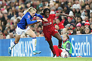 Everton women defender Esme Mogan (14) and Liverpool women forward Rinsola Babajide (20) during the FA Women's Super League match between Liverpool Women and Everton Women at Anfield, Liverpool, England on 17 November 2019.