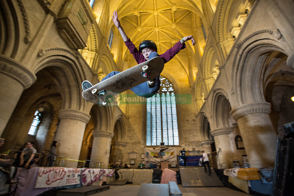 February 15, 2017 - Malmesbury, Wiltshire, UK - 14 year old SAM VUGTS getting some air at the ''Malmesbury Abbey Skate'' now in its 9th year, where the interior of the 12th century abbey in Malmesbury, Wiltshire is turned into a skate park for 3 days during the February half term.  (Credit Image: © Stephen Shepherd/London News Pictures via ZUMA Wire)