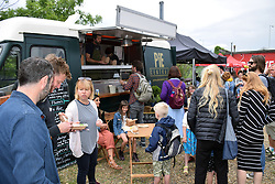 Pie Central food at Redwell Brewery Art Car Boot Fair, annual festival showcasing local artists. Norwich June 2018