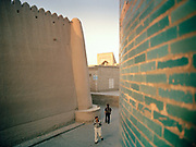 Streets of the old preserved city of Khiva, on the ancient Silk Road. Uzbekistan.