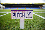 """a general view of the """"Keep of the pitch"""" sign inside Selhurst Park ahead of the game.. Premier League match, Crystal Palace v Stoke city at Selhurst Park in London on Sunday 18th Sept 2016. pic by John Patrick Fletcher, Andrew Orchard sports photography."""