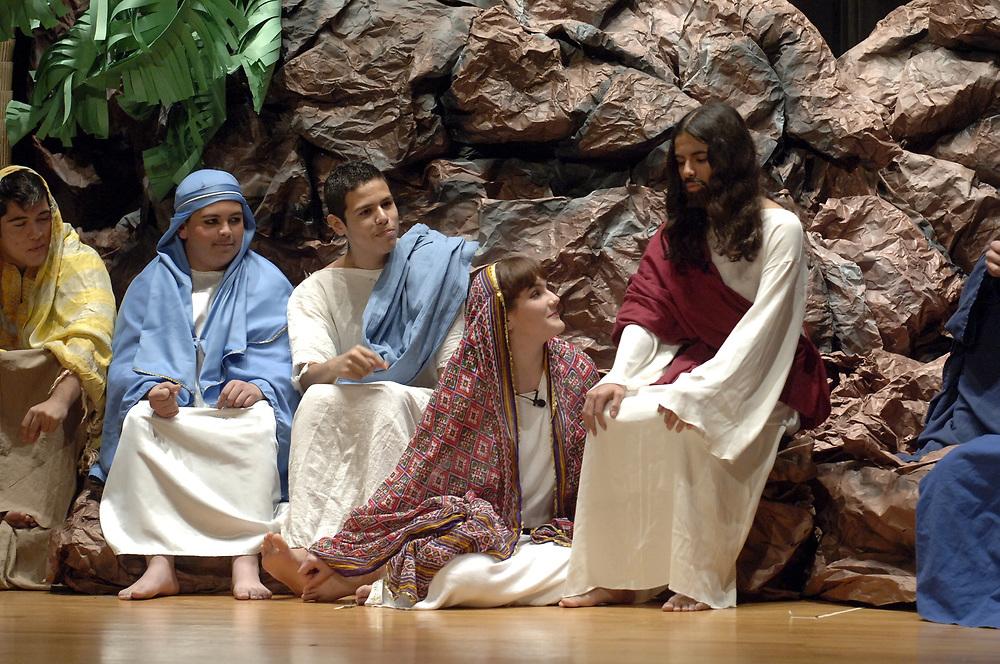 "Brownsville, TX January, 2006:  Brownsville, TX January, 2006:  Students perform Andrew Lloyd Webber's ""Jesus Christ-Superstar"" at Lopez High school auditorium. <br /> ©Bob Daemmrich/"
