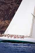 Wild Horses sailing in the Cannon Race at the Antigua Classic Yacht Regatta.