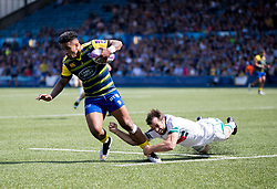 Cardiff Blues' Rey Lee-Lo evades the tackle of Pau's Conrad Smith<br /> <br /> Photographer Simon King/Replay Images<br /> <br /> European Rugby Challenge Cup - Semi Final - Cardiff Blues v Pau - Saturday 21st April 2018 - Cardiff Arms Park - Cardiff<br /> <br /> World Copyright © Replay Images . All rights reserved. info@replayimages.co.uk - http://replayimages.co.uk