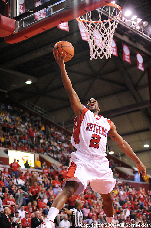 Feb 22, 2009; Piscataway, NJ, USA; Rutgers guard Anthony Farmer (2) puts up a layup during the second half of Rutgers' 74-56 loss to West Virginia at the Louis Brown Athletic Center.