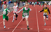 Meath Athletics track & field championships at Claremount stadium 16th May 2010<br /> Daniel Tully (Cushinstown AC) crosses the finish line in 2nd place in the boys u-11 60m final<br /> Photo: David Mullen / www.cyberimages.net