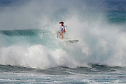 November 4th 2010:Bryce Young of Australia floats the section during the final day of competition of the ASP World Longboard Championship at Makaha Oahu-Hawaii. Photo by Matt Roberts/mattrIMAGES.com.au