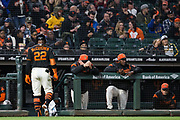 San Francisco Giants left fielder Andrew McCutchen (22) walks off the field after striking out against the Oakland Athletics at AT&T Park in San Francisco, California, on March 26, 2018. (Stan Olszewski/Special to S.F. Examiner)