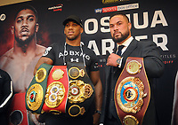 Boxing - 2018 Anthony Joshua-Joseph Parker Press Conference - Dorchester Hotel, London<br /> <br /> Anthony Joshua and Joseph Parker with their Belts after facing the media ahead of the World Heavyweight title unification fight.<br /> <br /> COLORSPORT/ANDREW COWIE