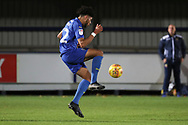 AFC Wimbledon midfielder Tyler Burey (32) controlling the ball during the EFL Trophy group stage match between AFC Wimbledon and Stevenage at the Cherry Red Records Stadium, Kingston, England on 6 November 2018.