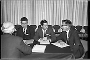 Federation of Irish Industries..1963..03.10.1963..10.03.1963..3rd October 1963..The Federation of Irish Industries commenced its 3rd National Marketing Conference at the Intercontinental Hotel ,Dublin today...Image shows  (L-R), Mr M Ryan Harrington and Goodlass Wall Ltd, Mr J Gordon, Palgrave Murphy Ltd and Mr F Donovan, Aer Lingus taking part in a group discussion..
