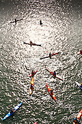 """Kayakers paddle on the Willamette River in Portland, Oregon - To license this image, click on the shopping cart below - -- Determine pricing and license this image, simply by clicking """"Add To Cart"""" below --"""