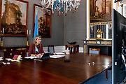 DEN HAAG, 21-01-2021, Paleis Huis ten Bosh <br /> <br /> Koningin Maxima spreekt met de Senegalese minister voor Digitale Economie en Telecommunicatie, Yankhoba Diatara tijdens een virtueel bezoek aan Senegal als speciale pleitbezorger van de secretaris-generaal van de Verenigde Naties voor inclusieve financiering voor ontwikkeling (UNSGSA). <br /> <br /> Queen Maxima speaks with Senegal's Minister for Digital Economy and Telecommunications, Yankhoba Diatara during a virtual visit to Senegal as the United Nations Secretary-General's Special Advocate for Inclusive Finance for Development (UNSGSA).