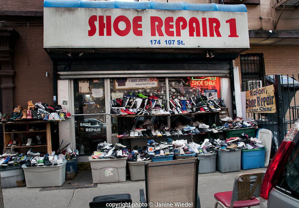 Shoe shop in side street in Spanish Harlem New York City