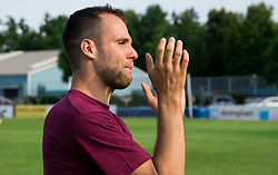 Matej Poplatnik of Triglav celebrates after winning during 2nd Leg football match between NK Triglav Kranj and NS Drava Ptuj in Qualifications of Prva Liga Telekom Slovenije 2018/19, on June 6, 2018 in Kranj, Slovenia. Photo by Vid Ponikvar / Sportida